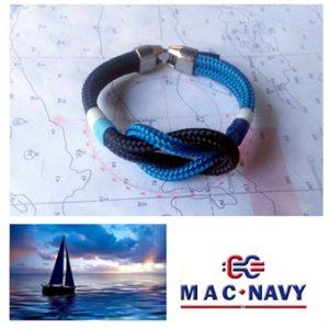 Pulseras náuticas de driza marinera y nudo llano
