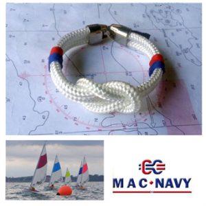 Pulseras náuticas de driza blanca y nudo llano