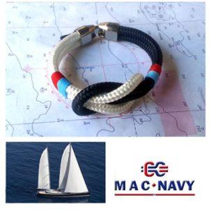 Pulseras nauticas de driza náuticas en blanco y azul