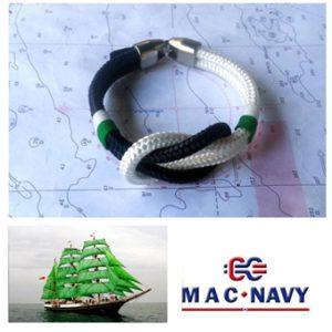 Pulseras náuticas de driza verde y nudo llano