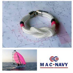 Pulseras náuticas con nudo marinero llano