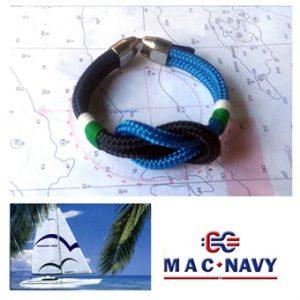 Pulseras náuticas de driza con nudo llano marinero