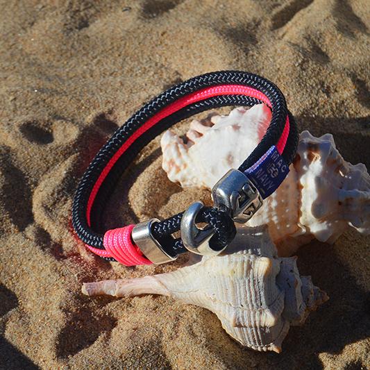 Pulseras náuticas con ancla y driza rosa