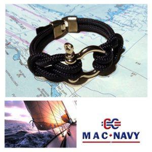Pulsera náutica con grilletes marineros color negro