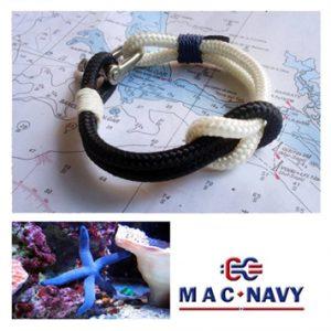 Pulsera náuticaazul con grilletes marineros