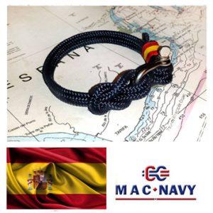 Pulseras con grilletes marineros y bandera de españa