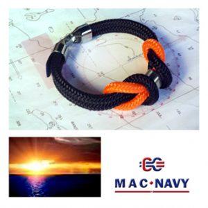 Pulseras náuticas con driza naranja y negra