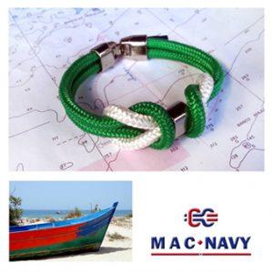 Pulseras náuticas de driza verde