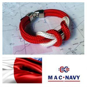 Pulseras de marinero con driza roja