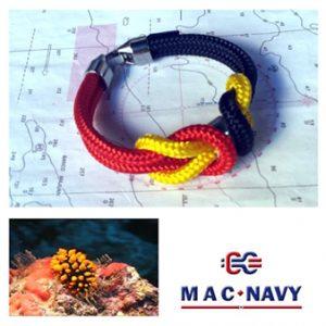 Pulseras de marinero de driza roja, amarilla y azul